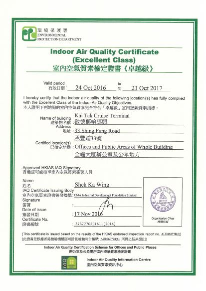 Indoor Air Quality Certificate